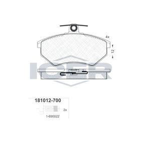 D6967570 ICER Achsausf.: Front Höhe: 69,6mm, Dicke/Stärke: 16,3mm Bremsbelagsatz, Scheibenbremse 181012-700 günstig kaufen