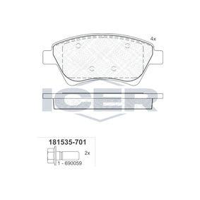 23930 ICER Achsausf.: Front Höhe: 59,51mm, Dicke/Stärke: 18,1mm Bremsbelagsatz, Scheibenbremse 181535-701 günstig kaufen