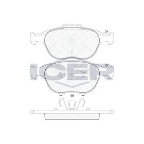 D9707871 ICER Achsausf.: Front Höhe 2: 67,3mm, Höhe: 62,8mm, Dicke/Stärke 2: 17,6mm, Dicke/Stärke: 18,1mm Bremsbelagsatz, Scheibenbremse 181537 günstig kaufen