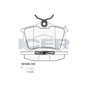 D17989029 ICER Achsausf.: Rear Höhe: 52,8mm, Dicke/Stärke: 16,4mm Bremsbelagsatz, Scheibenbremse 181650-703 günstig kaufen