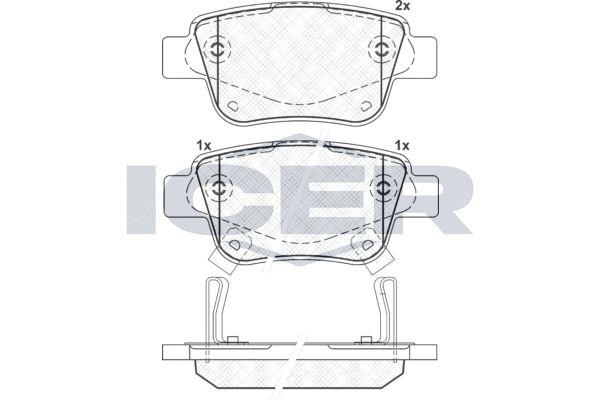 D23259558 ICER inkl. Verschleißwarnkontakt, Achsausf.: Rear Höhe: 45,9mm, Breite: 101,9mm, Dicke/Stärke: 16,7mm Bremsbelagsatz, Scheibenbremse 181688 günstig kaufen