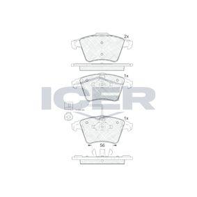 23749 ICER inkl. Verschleißwarnkontakt, Achsausf.: Front Höhe 2: 74,95mm, Höhe: 73,3mm, Dicke/Stärke 2: 17,7mm, Dicke/Stärke: 18,2mm Bremsbelagsatz, Scheibenbremse 181778 günstig kaufen