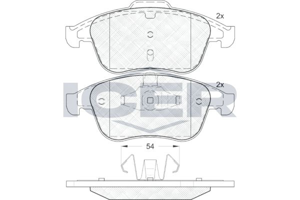 D17658984 ICER Achsausf.: Front Höhe 2: 68,2mm, Höhe: 63,0mm, Breite 2: 156,5mm, Breite: 155,1mm, Dicke/Stärke: 18mm Bremsbelagsatz, Scheibenbremse 181856 günstig kaufen