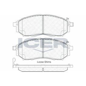 D8887766 ICER inkl. Verschleißwarnkontakt, Achsausf.: Front Höhe: 58,12mm, Dicke/Stärke: 17mm Bremsbelagsatz, Scheibenbremse 181876 günstig kaufen