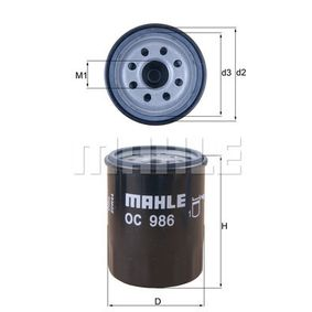 70529072 MAHLE ORIGINAL Anschraubfilter Innendurchmesser 2: 56,5mm, Ø: 65,5mm, Höhe: 86,2mm Ölfilter OC 986 günstig kaufen