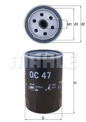 OC 47 Filter MAHLE ORIGINAL - Markenprodukte billig