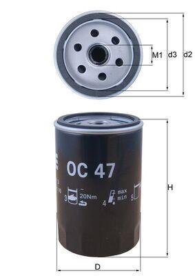 OC 47 Filtre à huile MAHLE ORIGINAL - Produits de marque bon marché
