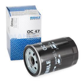 Osta 77642077 MAHLE ORIGINAL Keeratav filter Siseläbimõõt 2: 62,0mm, Ø: 76,0mm, Kõrgus: 119,5mm Õlifilter OC 47 madala hinnaga