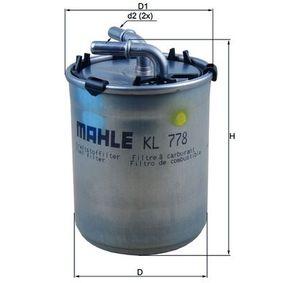 KL 778 Brændstof-filter MAHLE ORIGINAL original kvalitet