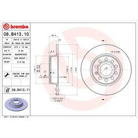 08.B413.11 BREMBO COATED DISC LINE Voll, beschichtet, mit Schrauben Ø: 272mm, Lochanzahl: 5, Bremsscheibendicke: 10mm Bremsscheibe 08.B413.11 günstig kaufen