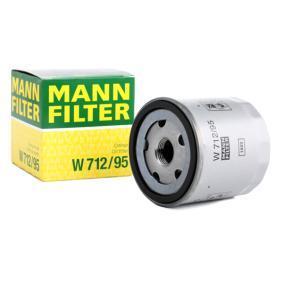 Kupi W 712/95 MANN-FILTER z enim povratnim zapiralnim ventilom Notranji premer 2: 63mm, Ø: 76mm, zunanji premer 2: 72mm, Visina: 79mm Oljni filter W 712/95 poceni