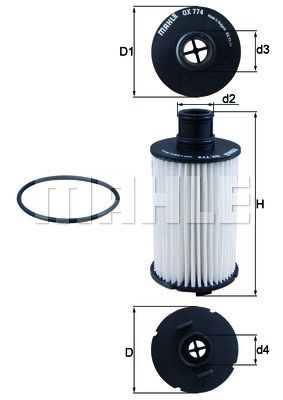 LAND ROVER DISCOVERY 2020 replacement parts: Oil Filter MAHLE ORIGINAL OX 774D at a discount — buy now!