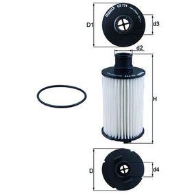 79929584 MAHLE ORIGINAL Filtereinsatz Innendurchmesser 2: 27,6mm, Ø: 74,5mm, Höhe: 147,5mm, Höhe 1: 109,0mm Ölfilter OX 774D günstig kaufen