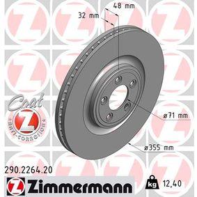 290.2264.20 ZIMMERMANN COAT Z Innenbelüftet, beschichtet, hochgekohlt Ø: 355mm Bremsscheibe 290.2264.20 günstig kaufen