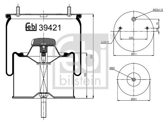 FEBI BILSTEIN: Original Federbalg, Luftfederung 39421 ()