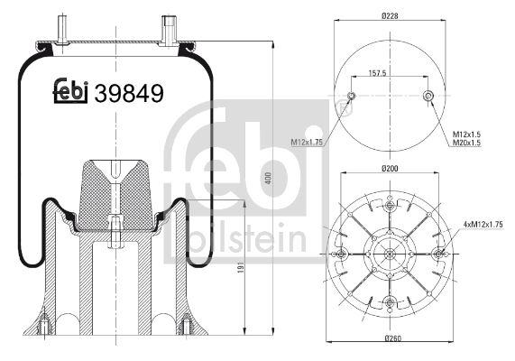 FEBI BILSTEIN: Original Federbalg, Luftfederung 39849 ()