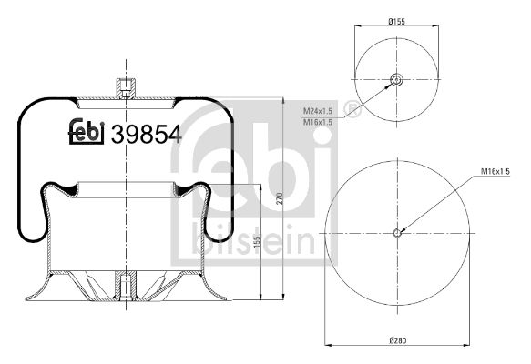 MERCEDES-BENZ B-Klasse 2012 Federbalg, Luftfederung - Original FEBI BILSTEIN 39854