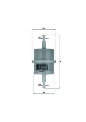 Comprare 00KL63 KNECHT Filtro per condotti/circuiti Alt.: 119mm, Diametro alloggiamento/sede: 45mm Filtro carburante KL 63 OF poco costoso