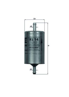 Купете мото KNECHT проточен филтър височина: 94,0мм, диаметър на корпуса: 49,6мм Горивен филтър KL 145 евтино