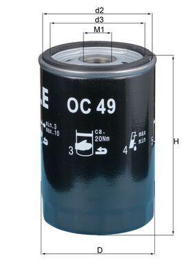 0077642242 KNECHT Anschraubfilter Ø: 76,0mm, Ø: 76,0mm, Höhe: 120mm Ölfilter OC 49 günstig kaufen