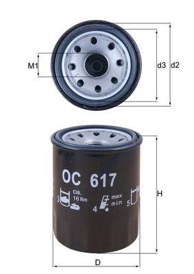 0070384190 KNECHT Anschraubfilter Innendurchmesser 2: 52mm, Außendurchmesser 2: 63mm, Ø: 65,5mm, Höhe: 87mm Ölfilter OC 617 günstig kaufen