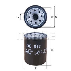 0070384190 KNECHT Anschraubfilter Innendurchmesser 2: 52,4mm, Ø: 65,5mm, Höhe: 86,5mm Ölfilter OC 617 günstig kaufen