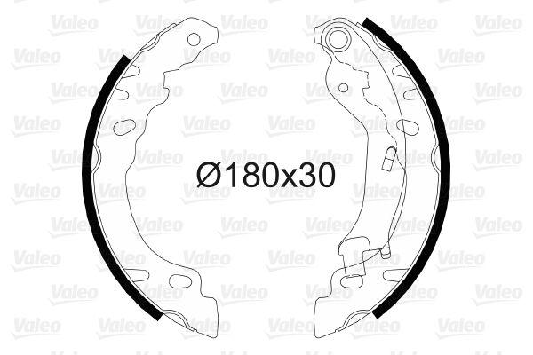 564082 VALEO Hinterachse, ohne Radbremszylinder Trommel-Ø: 180mm, Breite: 30mm Bremsbackensatz 564082 günstig kaufen