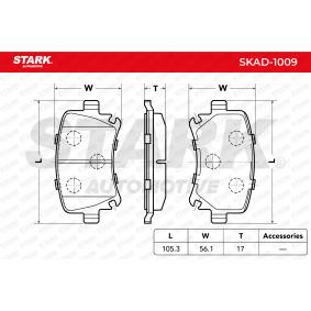 SKAD-1009 STARK Hinterachse, exkl. Verschleißwarnkontakt Höhe 1: 56,1mm, Breite 1: 105,3mm, Dicke/Stärke 1: 17mm Bremsbelagsatz, Scheibenbremse SKAD-1009 günstig kaufen