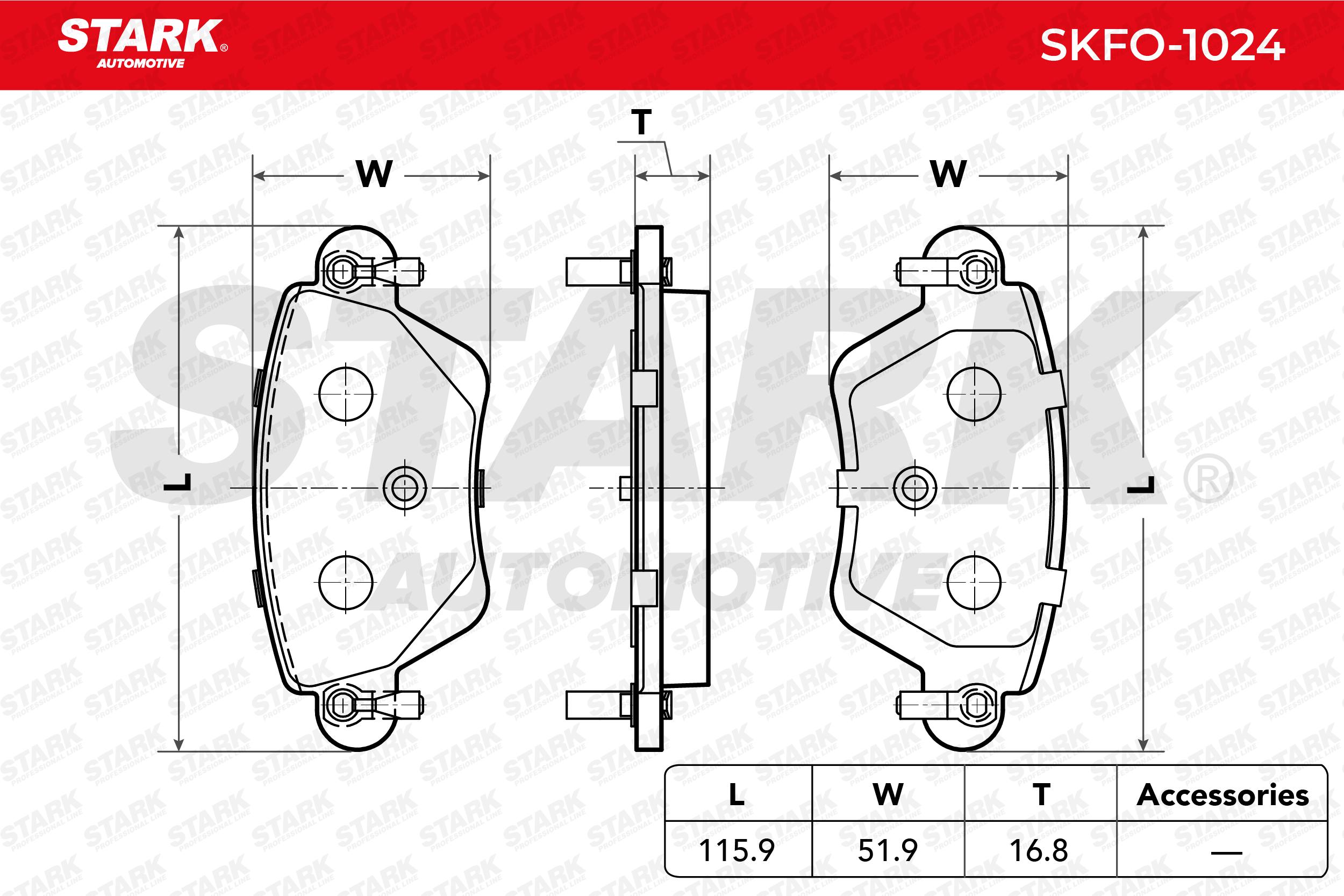 STARK   Bremsbelagsatz, Scheibenbremse SKFO-1024