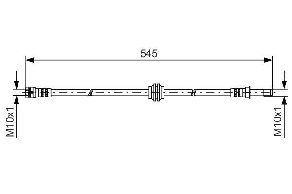 MERCEDES-BENZ VIANO 2014 Bremsschläuche - Original BOSCH 1 987 481 454 Länge: 495mm, Außengewinde: M10x1mm, Innengewinde 2: M10x1mm