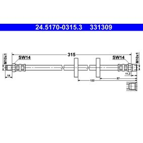 331309 ATE Länge: 315mm, Außengewinde: M10x1mm Bremsschlauch 24.5170-0315.3 günstig kaufen