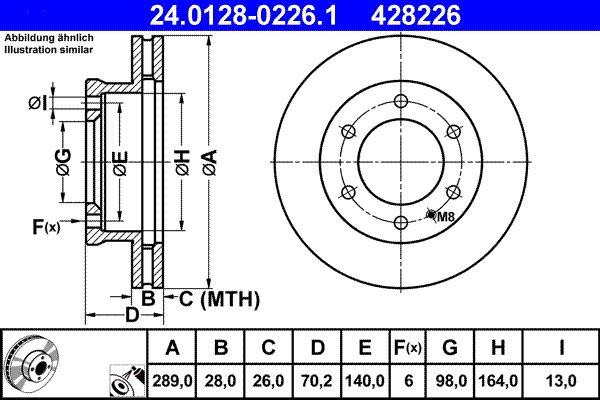 MAZDA B-Serie 1999 Tuning - Original ATE 24.0128-0226.1 Ø: 289,0mm, Lochanzahl: 6, Bremsscheibendicke: 28,0mm