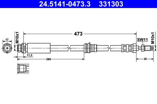 MAZDA 2 2012 Rohre und Schläuche - Original ATE 24.5141-0473.3 Länge: 473mm, Innengewinde: M10x1mm, Außengewinde: M10x1mm