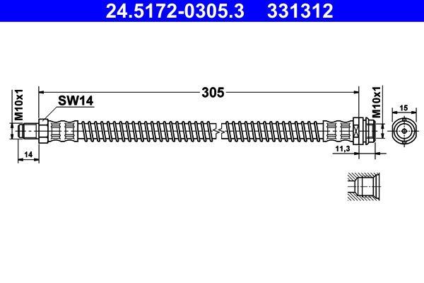 MERCEDES-BENZ GLK 2015 Bremsschlauch - Original ATE 24.5172-0305.3 Länge: 305mm, Innengewinde: M10x1mm, Außengewinde: M10x1mm