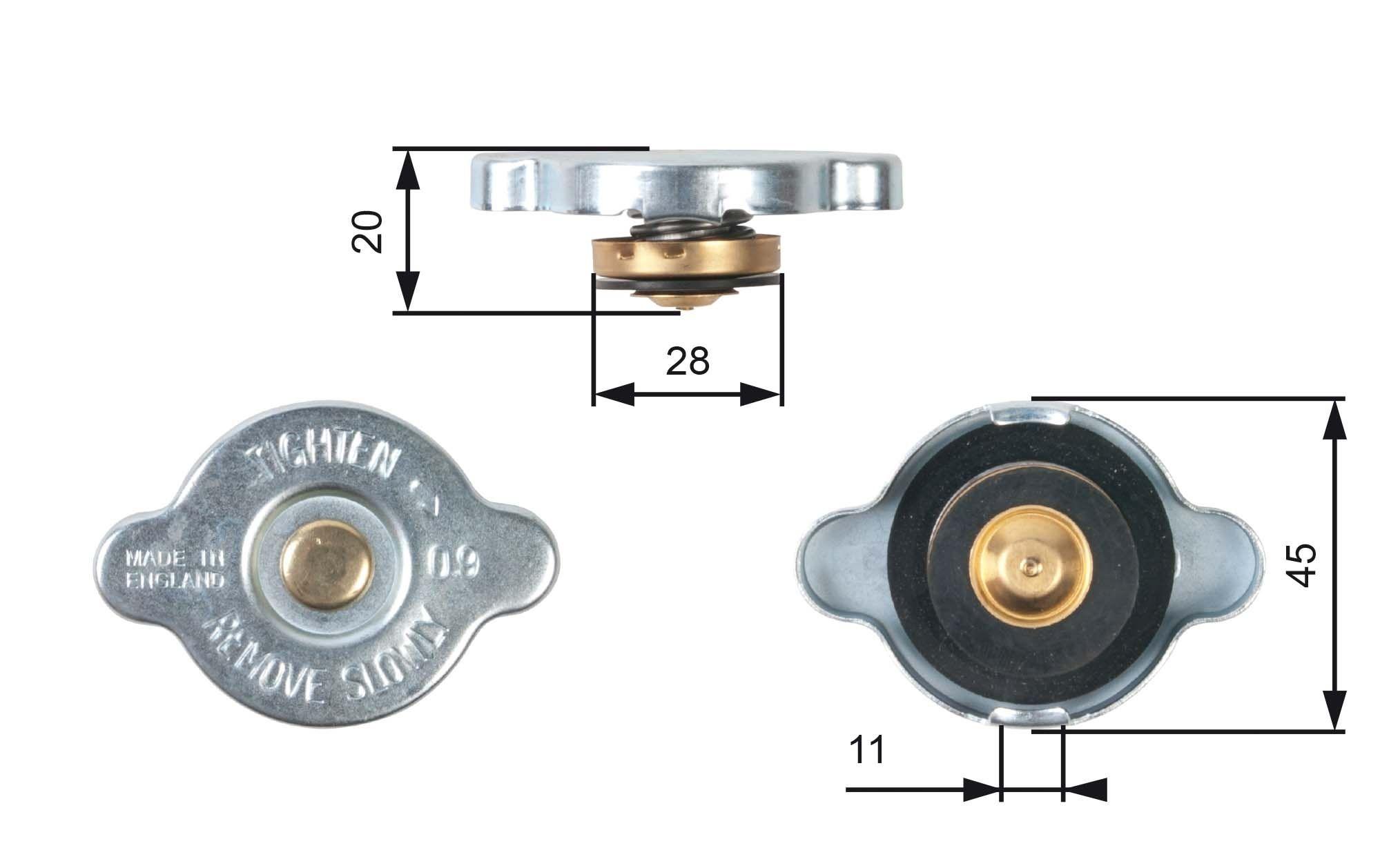 RC124 Kühlerdeckel GATES in Original Qualität