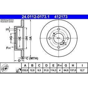 412173 ATE Voll, beschichtet Ø: 232,0mm, Lochanzahl: 4, Bremsscheibendicke: 12,0mm Bremsscheibe 24.0112-0173.1 günstig kaufen