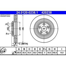 420238 ATE belüftet, beschichtet, hochgekohlt Ø: 326,0mm, Lochanzahl: 5, Bremsscheibendicke: 20,0mm Bremsscheibe 24.0120-0238.1 günstig kaufen