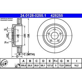 428255 ATE belüftet, beschichtet, legiert/hochgekohlt Ø: 350,0mm, Lochanzahl: 5, Bremsscheibendicke: 28,0mm Bremsscheibe 24.0128-0255.1 günstig kaufen