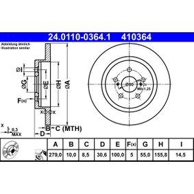 410364 ATE Voll, beschichtet Ø: 279,0mm, Lochanzahl: 5, Bremsscheibendicke: 10,0mm Bremsscheibe 24.0110-0364.1 günstig kaufen