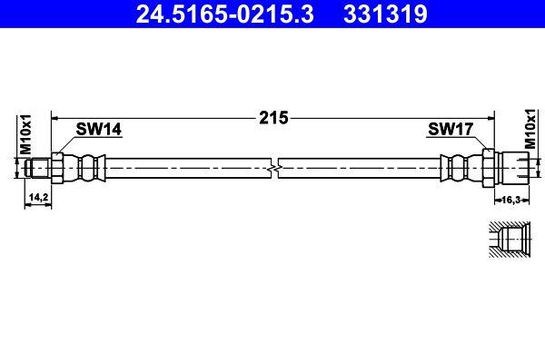 VW KARMANN GHIA 1975 Bremsschläuche - Original ATE 24.5165-0215.3 Länge: 210mm, Innengewinde: M10x1mm, Außengewinde: M10x1mm