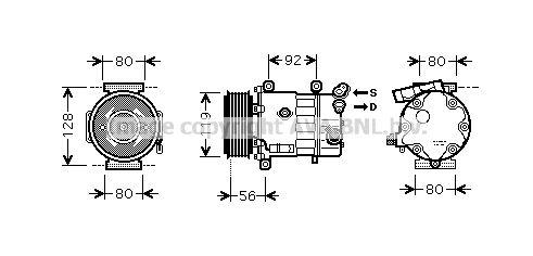 Acheter Compresseur d'air conditionné Poulies-Ø: 119mm PRASCO CNAK255 à tout moment