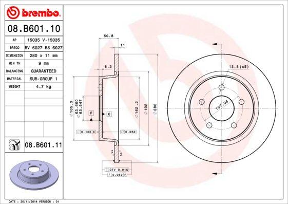 Bremsscheibe 08.B601.10 von BREMBO