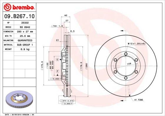 BREMBO: Original Tuning 09.B267.10 (Ø: 280mm, Lochanzahl: 6, Bremsscheibendicke: 27mm)