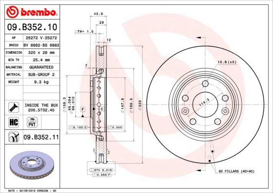 RENAULT TALISMAN 2020 Scheibenbremsen - Original BREMBO 09.B352.11 Ø: 320mm, Lochanzahl: 5, Bremsscheibendicke: 28mm