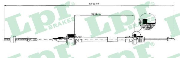 C0128C LPR Länge: 795/410mm Seilzug, Kupplungsbetätigung C0128C günstig kaufen