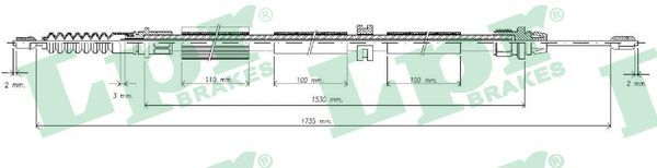 FORD MONDEO 2014 Handbremse - Original LPR C0262B Länge: 1735/1532mm