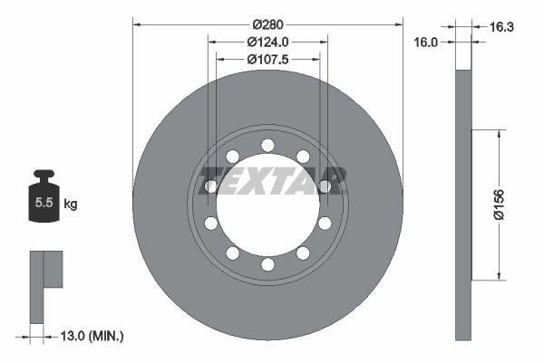 Купете 98200152001 TEXTAR плътен, без болтове за закрепване на колелата, без колесна главина Ø: 280мм, дебелина на спирачния диск: 16мм Спирачен диск 92152000 евтино
