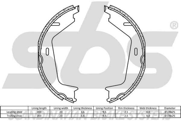 sbs | Bremsbackensatz, Feststellbremse 18492748733