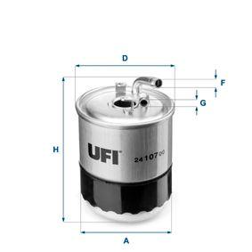 24.107.00 UFI Höhe: 126,0mm Kraftstofffilter 24.107.00 günstig kaufen
