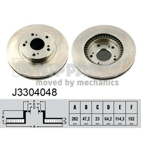 J3304048 NIPPARTS Vented, Oiled Ø: 282mm, Num. of holes: 5, Brake Disc Thickness: 23mm Brake Disc J3304048 cheap
